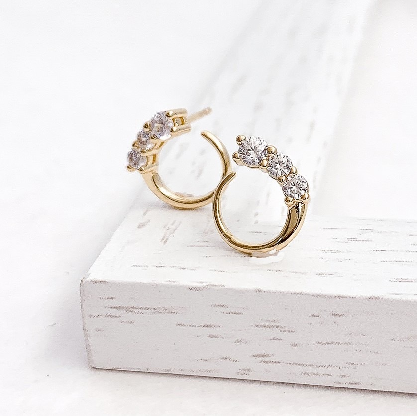 Moon cz pierce/earring