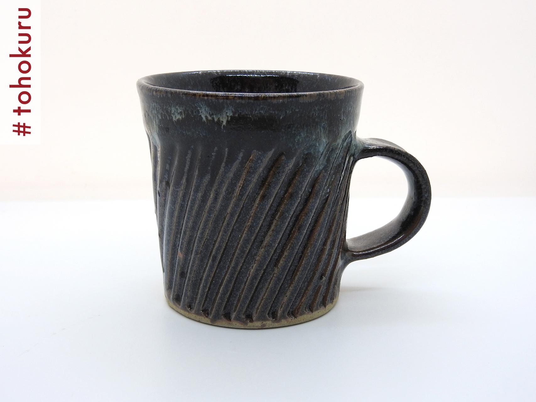 #tohokuru 津軽千代造窯|なまこ釉しのぎ手マグカップ