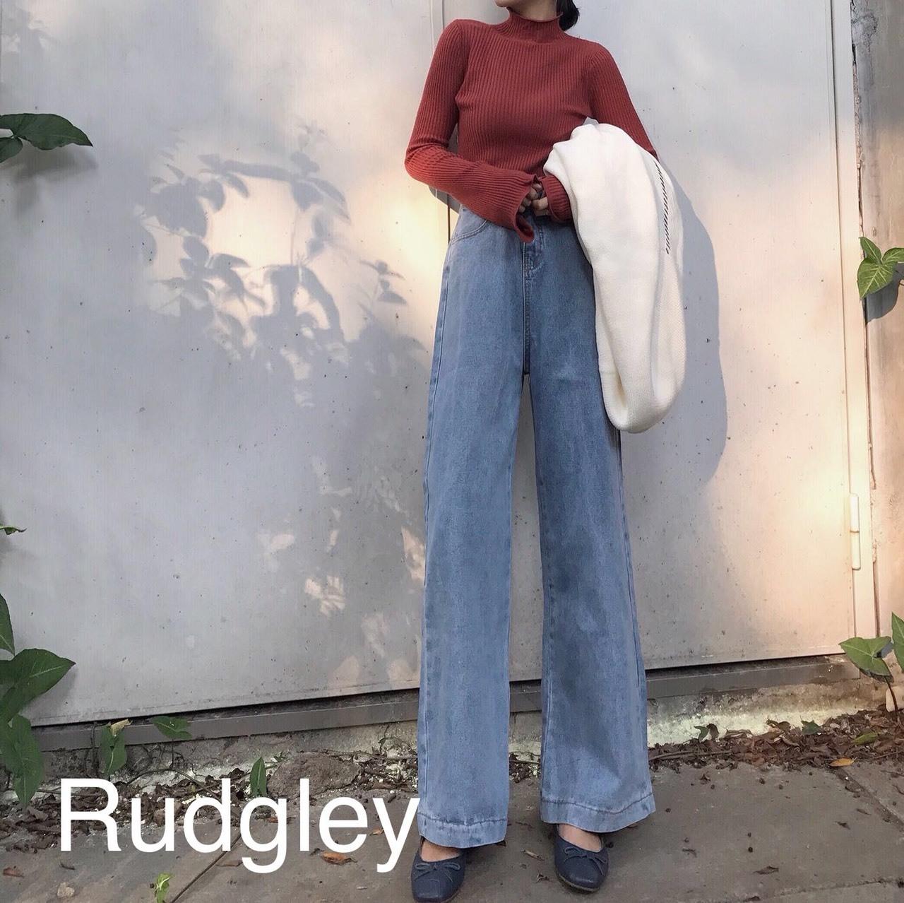 レトロ ハイウエスト  ワイドデニム 韓国ファッション