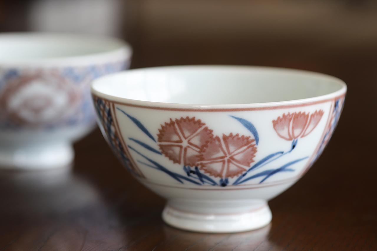 釉裏紅撫子文 飯碗 作:松尾重利・凌山窯