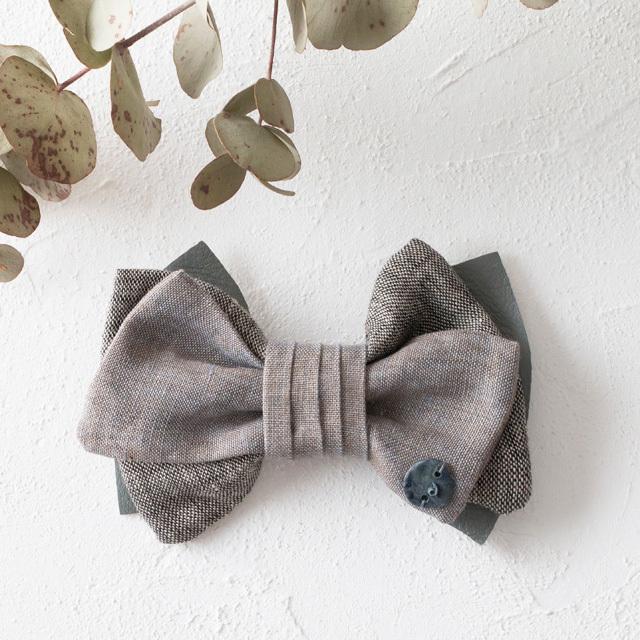 麻の蝶ネクタイ 〈Bow Tie〉Gray