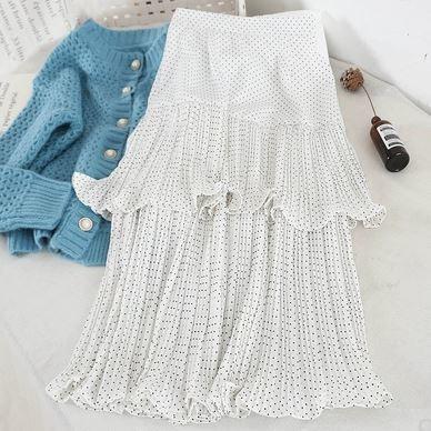 2色展開 ドット柄 シフォン プリーツ ティアードスカート ふんわりシルエット キュート 大人可愛い ホワイト/ブラック
