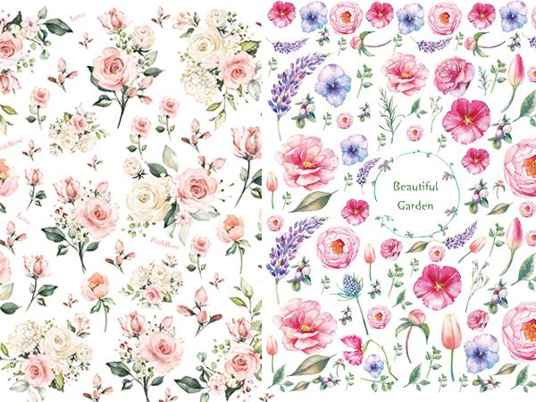 【SET割引】2枚セット ピンクローズ・ビューティフルガーデン (ポーセラーツ用転写紙)