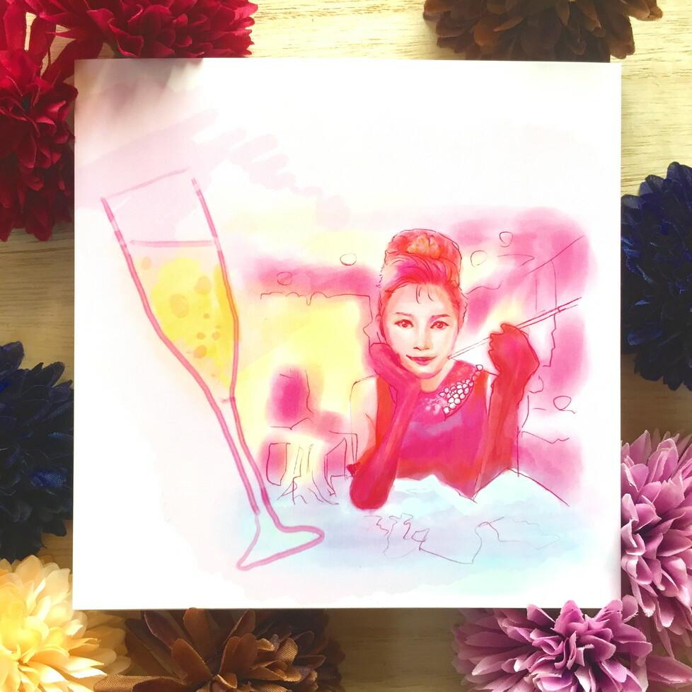 絵画 インテリア アートパネル 雑貨 壁掛け 置物 おしゃれ 人物画 女性 シャンパン ロココロ 画家 : Hiro K 作品 : H.O