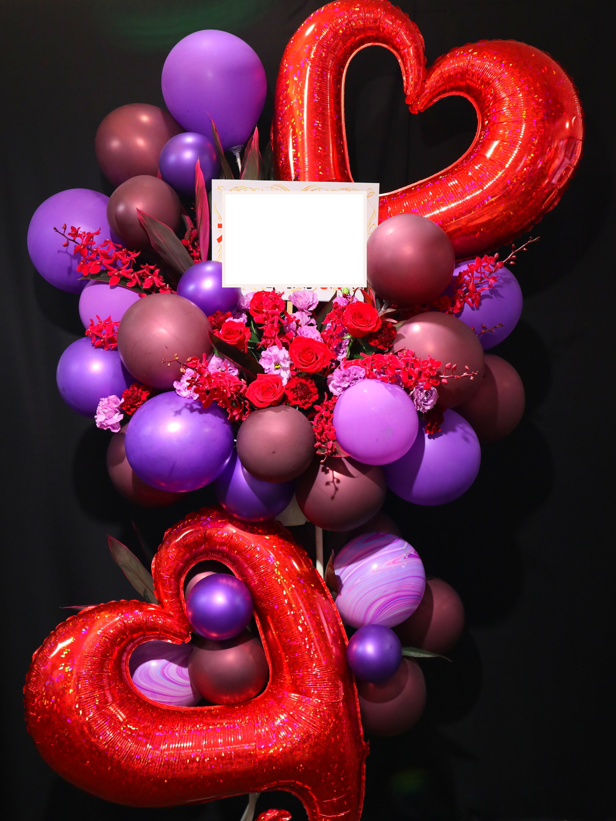 bst087 バルーンスタンド 赤・紫系2段