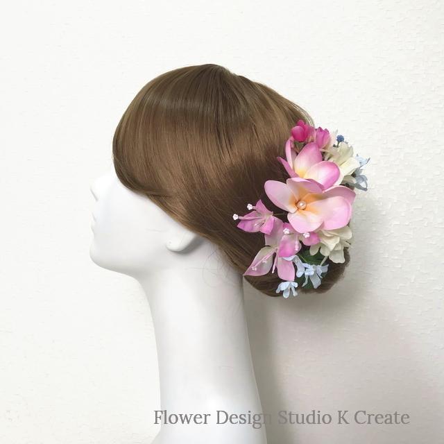 ピンクのプルメリアとブーゲンビリアのヘッドドレス(12本セット) 結婚式 ウェディング 海外挙式 ハワイ