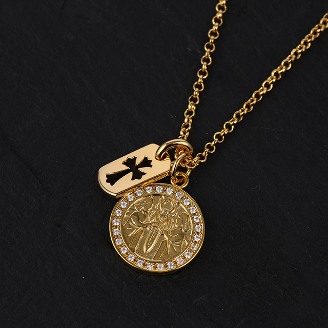 22KGP エンジェルメダル&カットアウトクロスドッグタグ チェーンSET