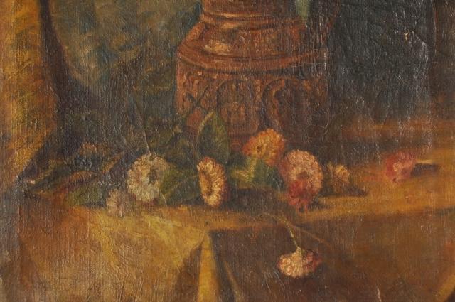 油絵 花と花瓶