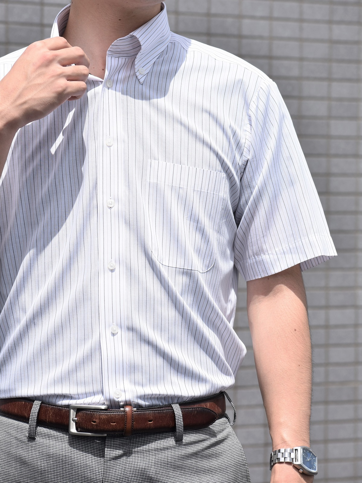【形態安定加工】半袖シャツストライプ柄 (衿ボタンダウン)KG