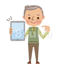 イラスト素材:タブレット端末を持つシニア男性(ベクター・JPG)