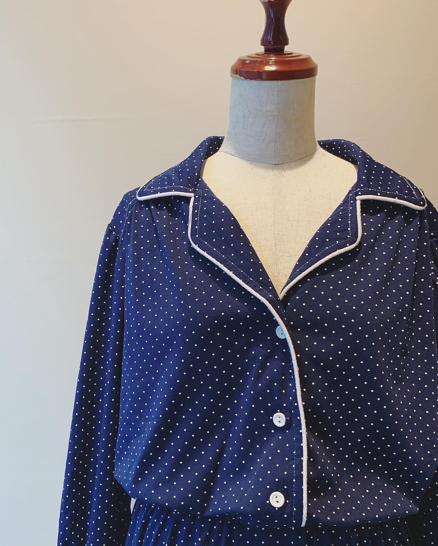 【SALE】vintage dot design open collar onepiece