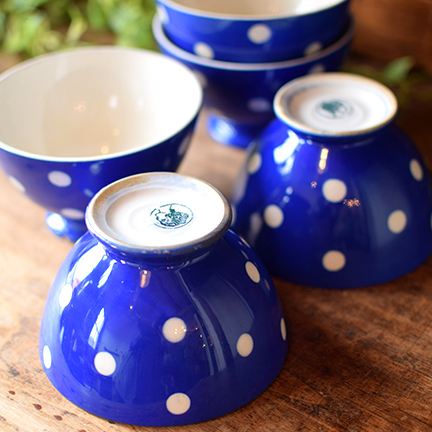 ベルギーBOCH ブルー 水玉カフェオレボウル