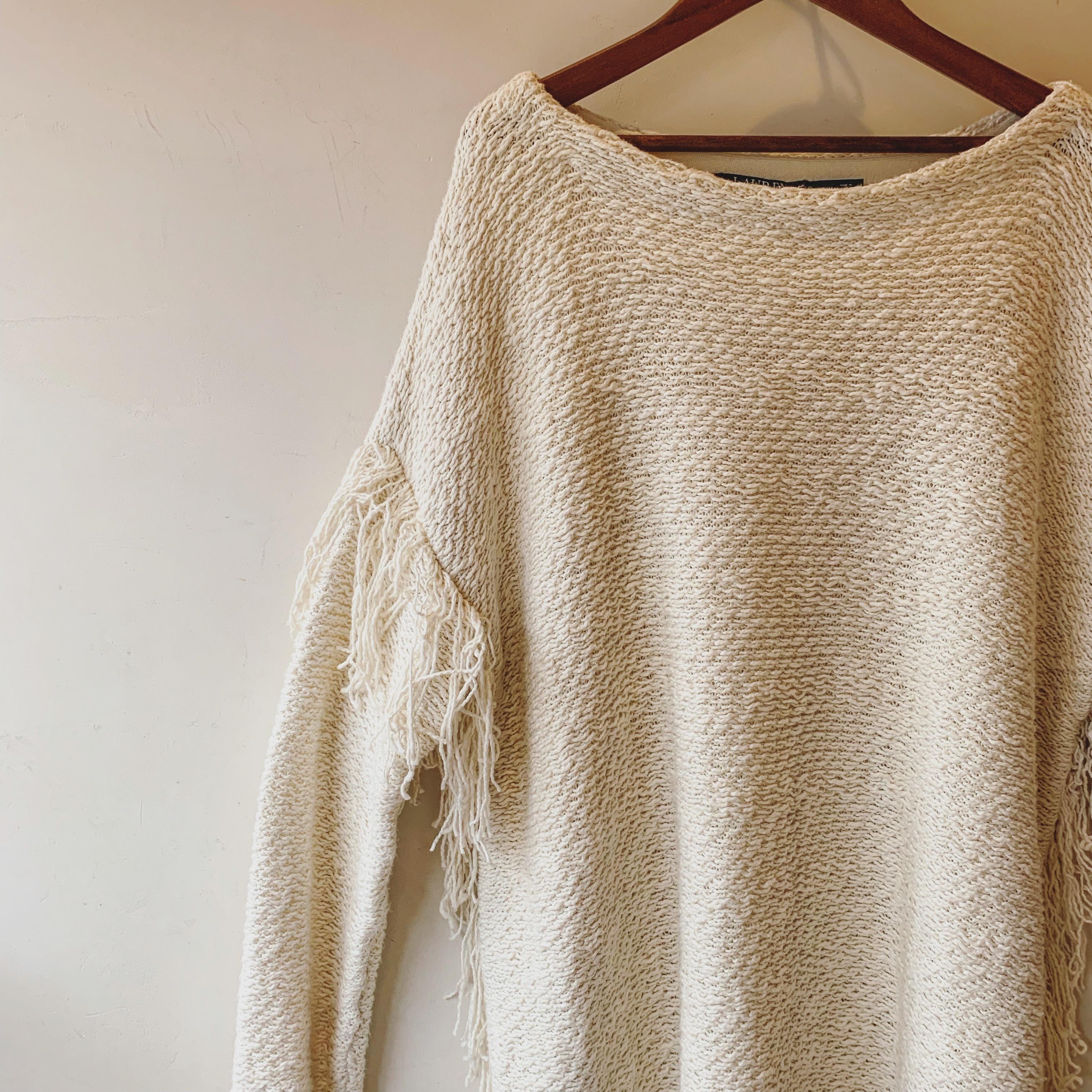vintage fringe design knit sweater