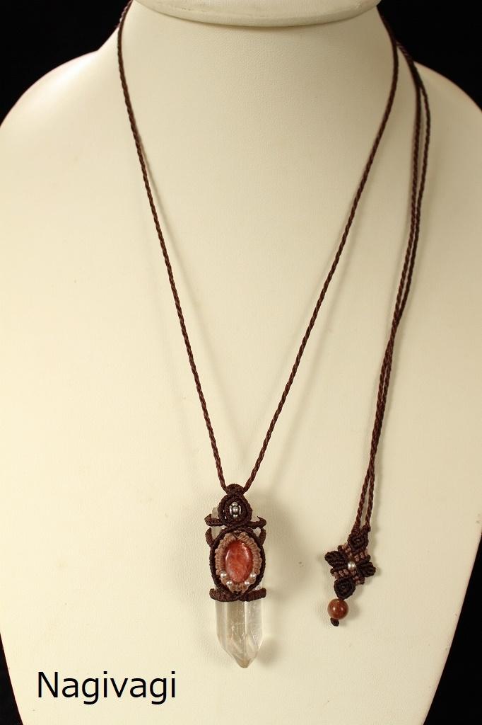 Crystal Sunstone macrame pendant