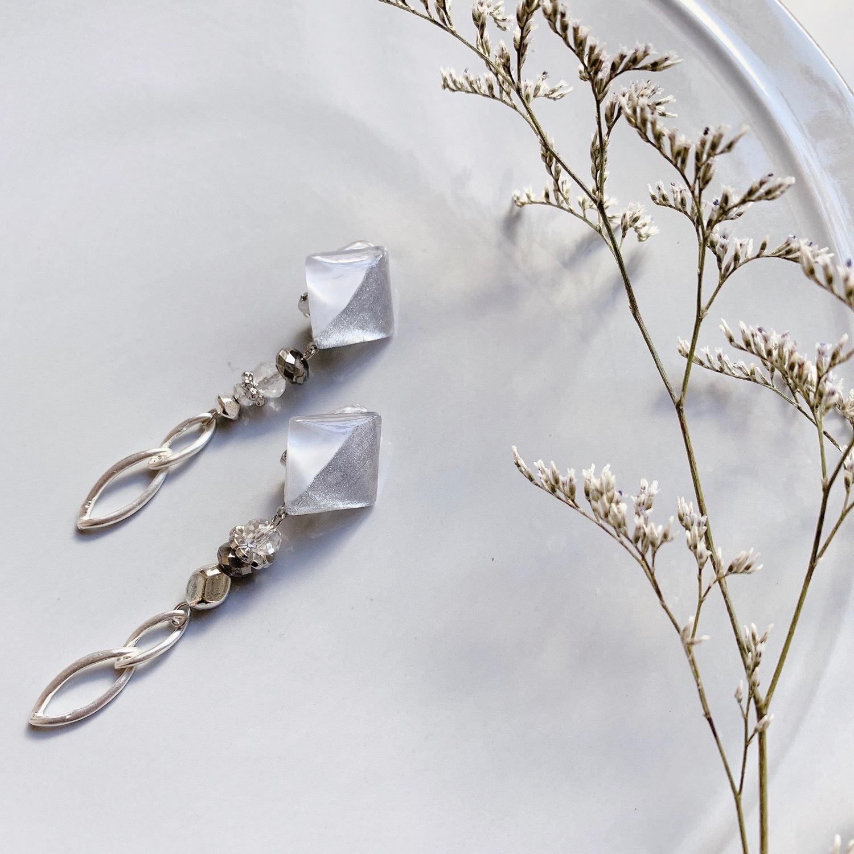""""""" Earrings NO.danoan-52″ ペイント×シルバー"""