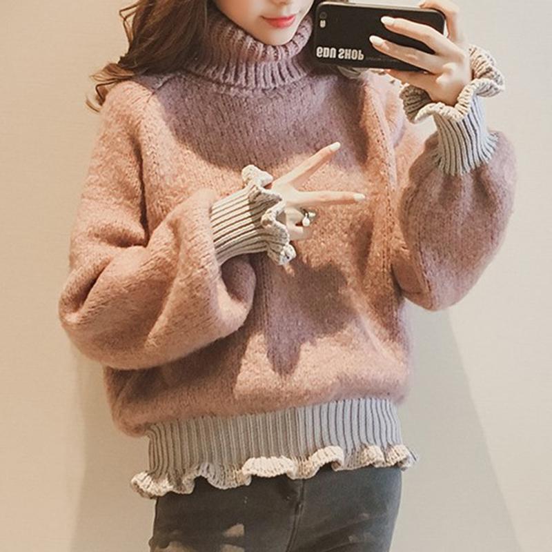【tops】ハイネック切り替えファッションセーター24927511