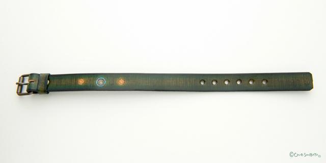 木版染革ベルトカーキー丸M