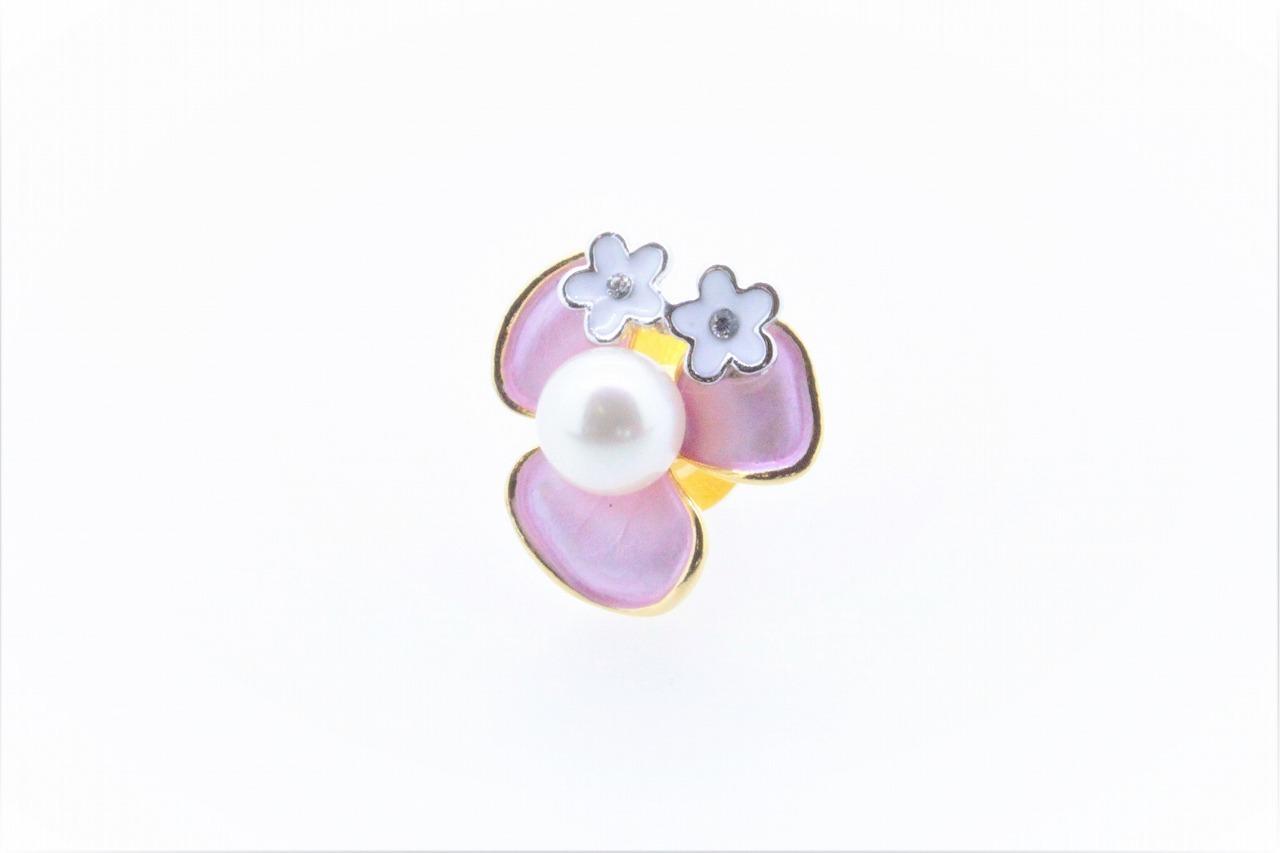 アコヤ真珠 ピンブローチ〈カラーフラワー〉ライトピンク