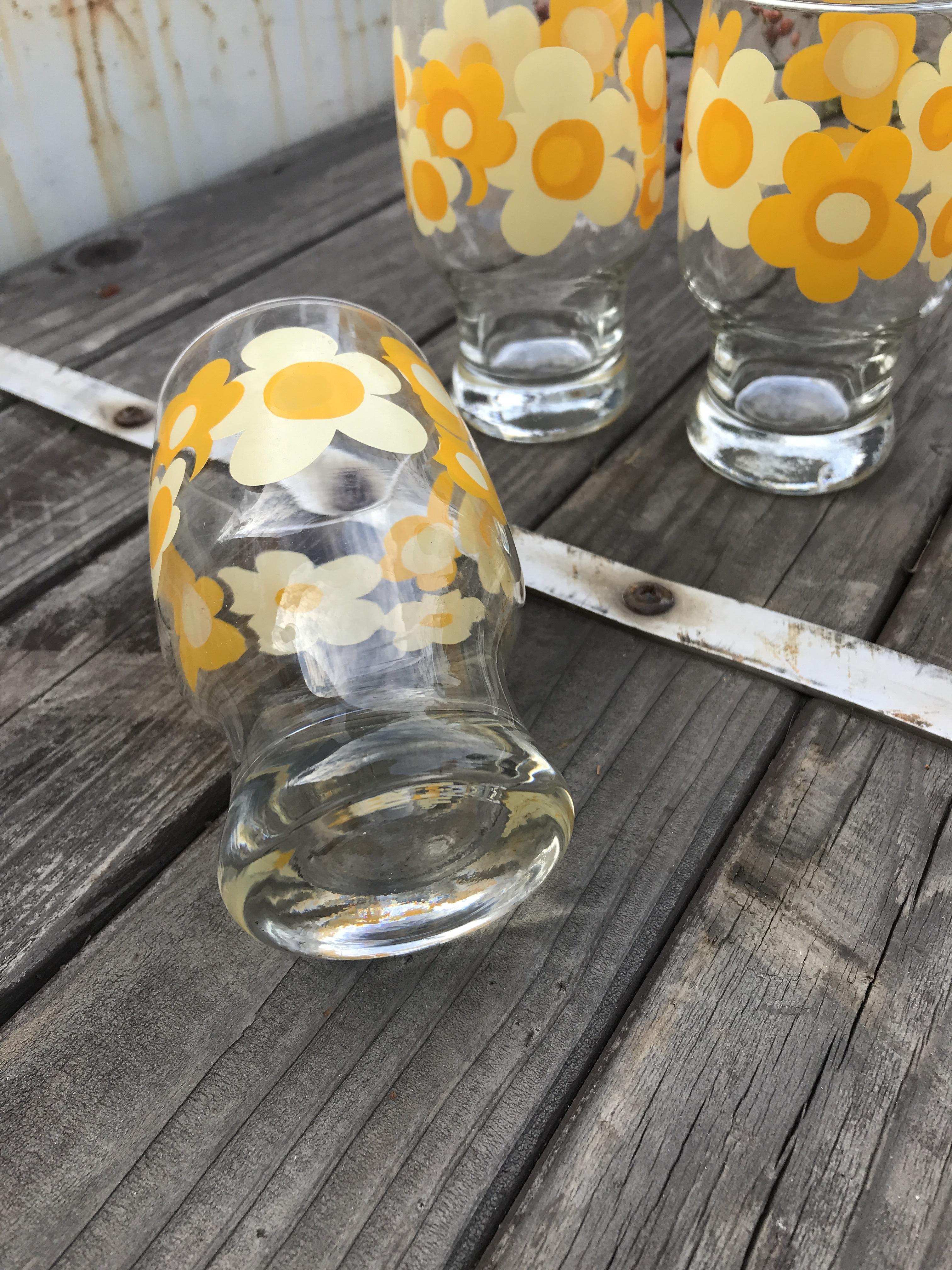 レトロ 花柄グラス