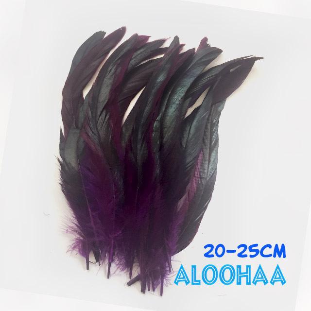 ロングフェザー 【紫】20-25cm タヒチアン 衣装 材料 ルースターテール 染め 羽根