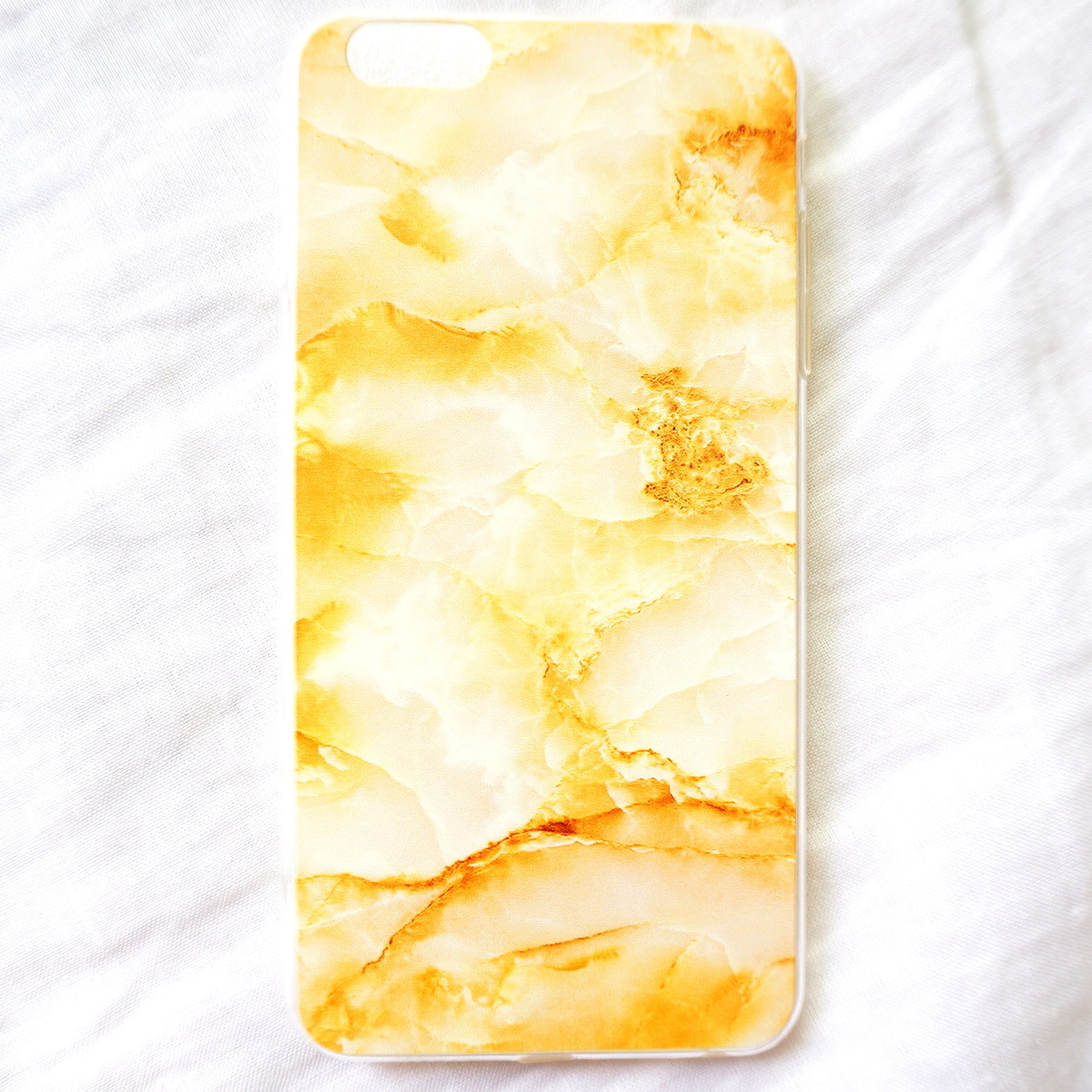 c[B13]大理石ゴールドiPhone6plusカバー