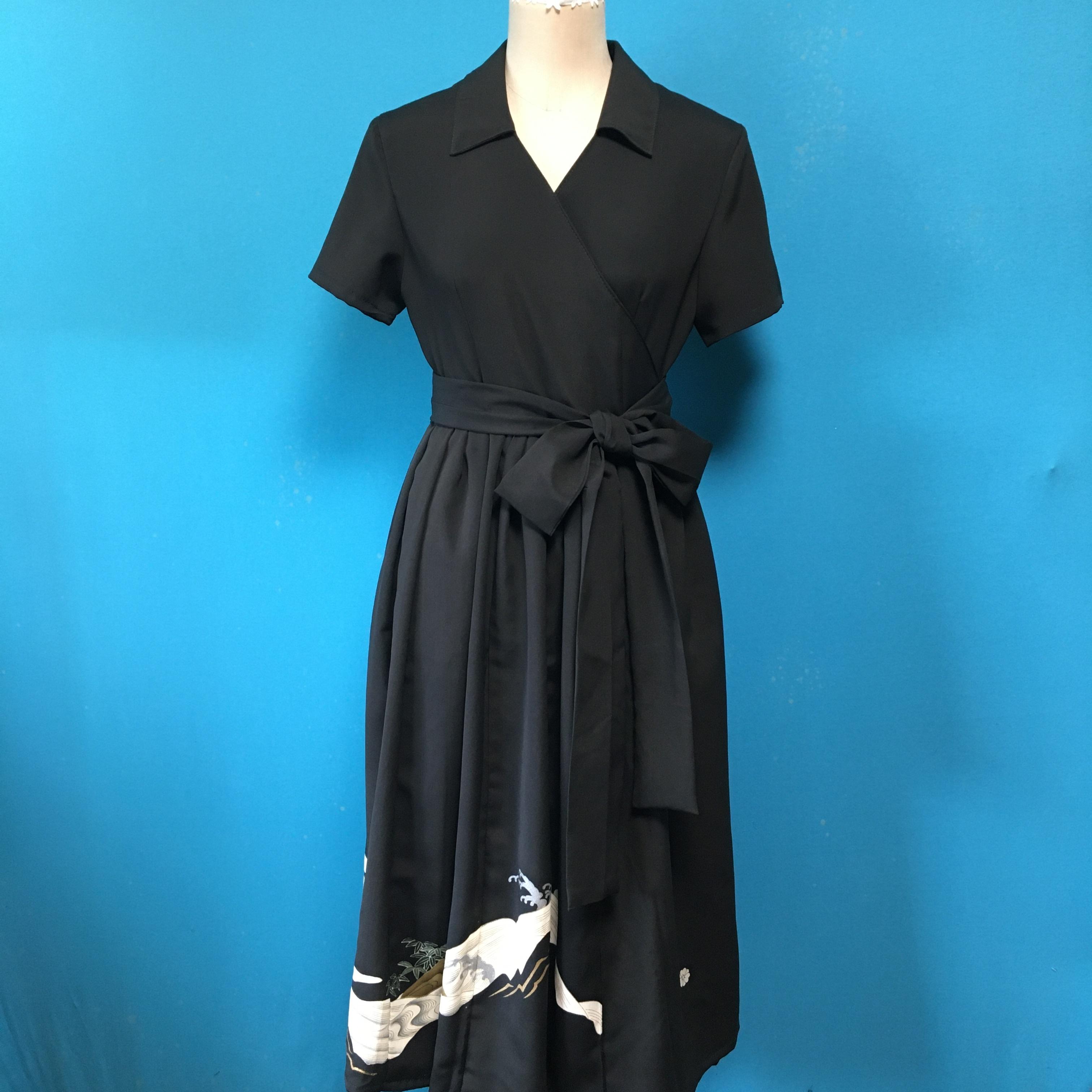 Vintage black wrap dress 古典刺繍