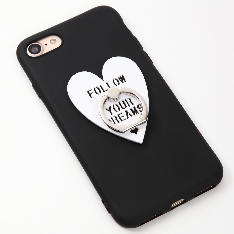 【即納★送料無料】ブラックソフトケースにハートのバンカーリング付iPhoneケース