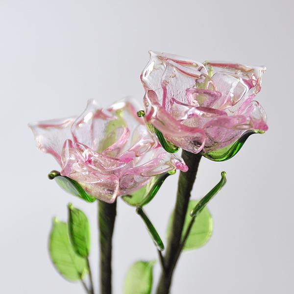 グラスフラワー バラ(ピンク)単品