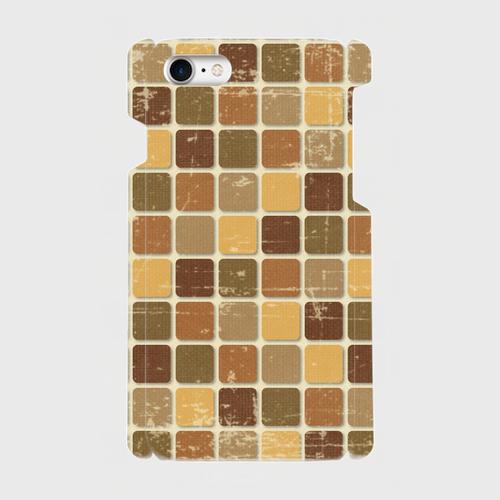 モザイクタイル(茶)/ iPhoneスマホケース(ハードケース)