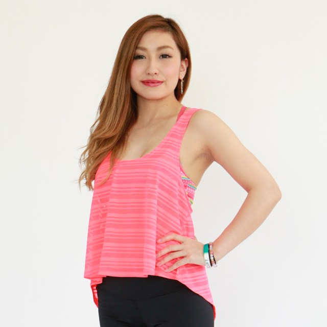 Open Cross Tank - Watermelon Mesh Stripe