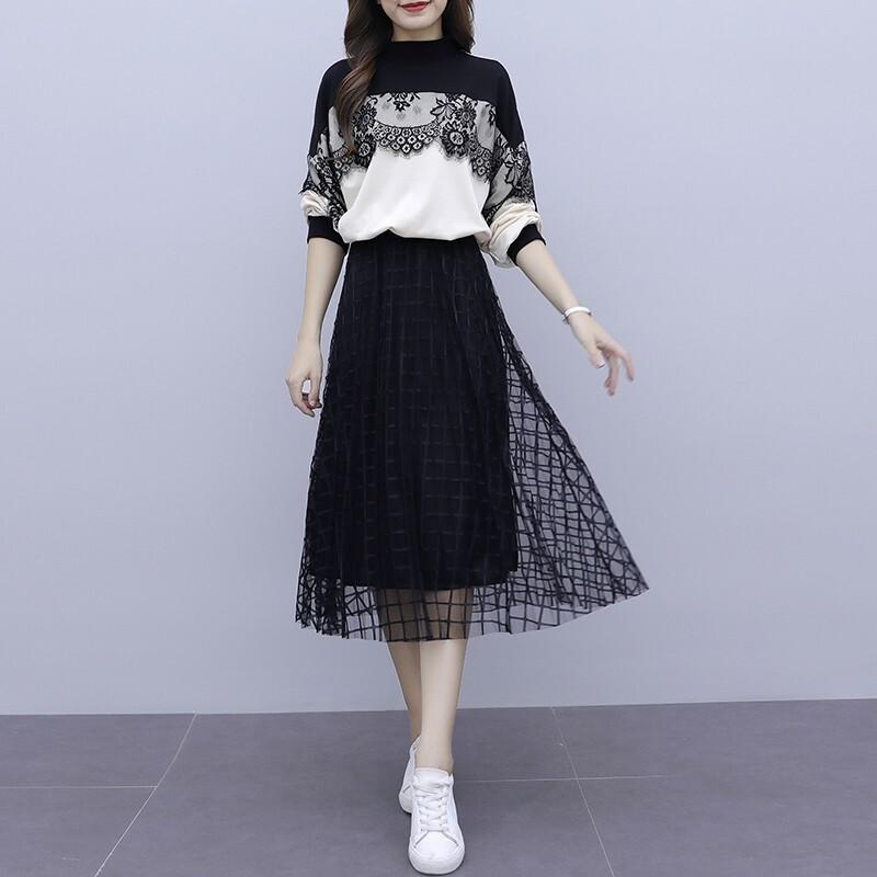 【セットアップ】二点セットファッション配色レース23873962