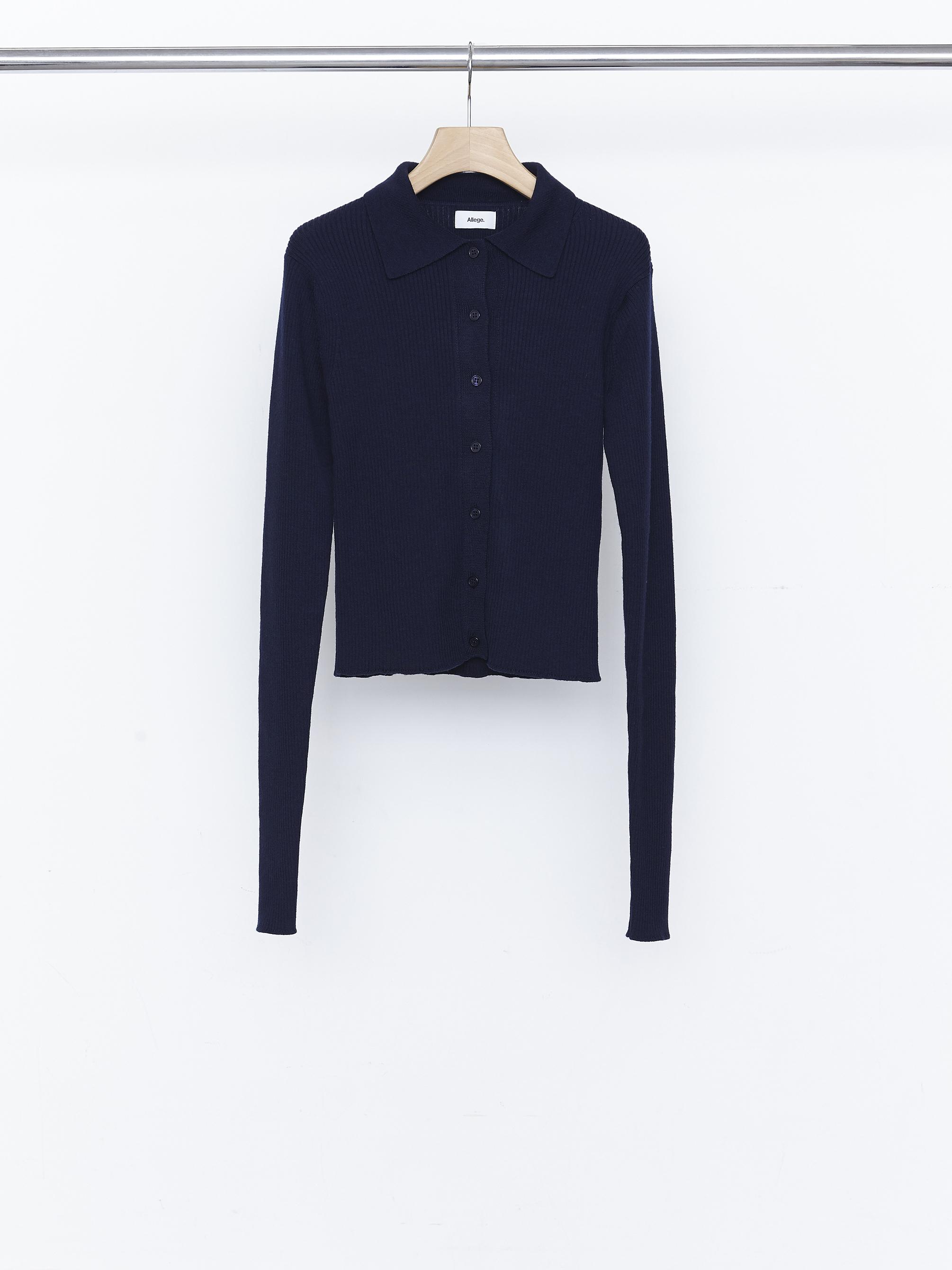 Standard Wool Rib Cardigan - Navy