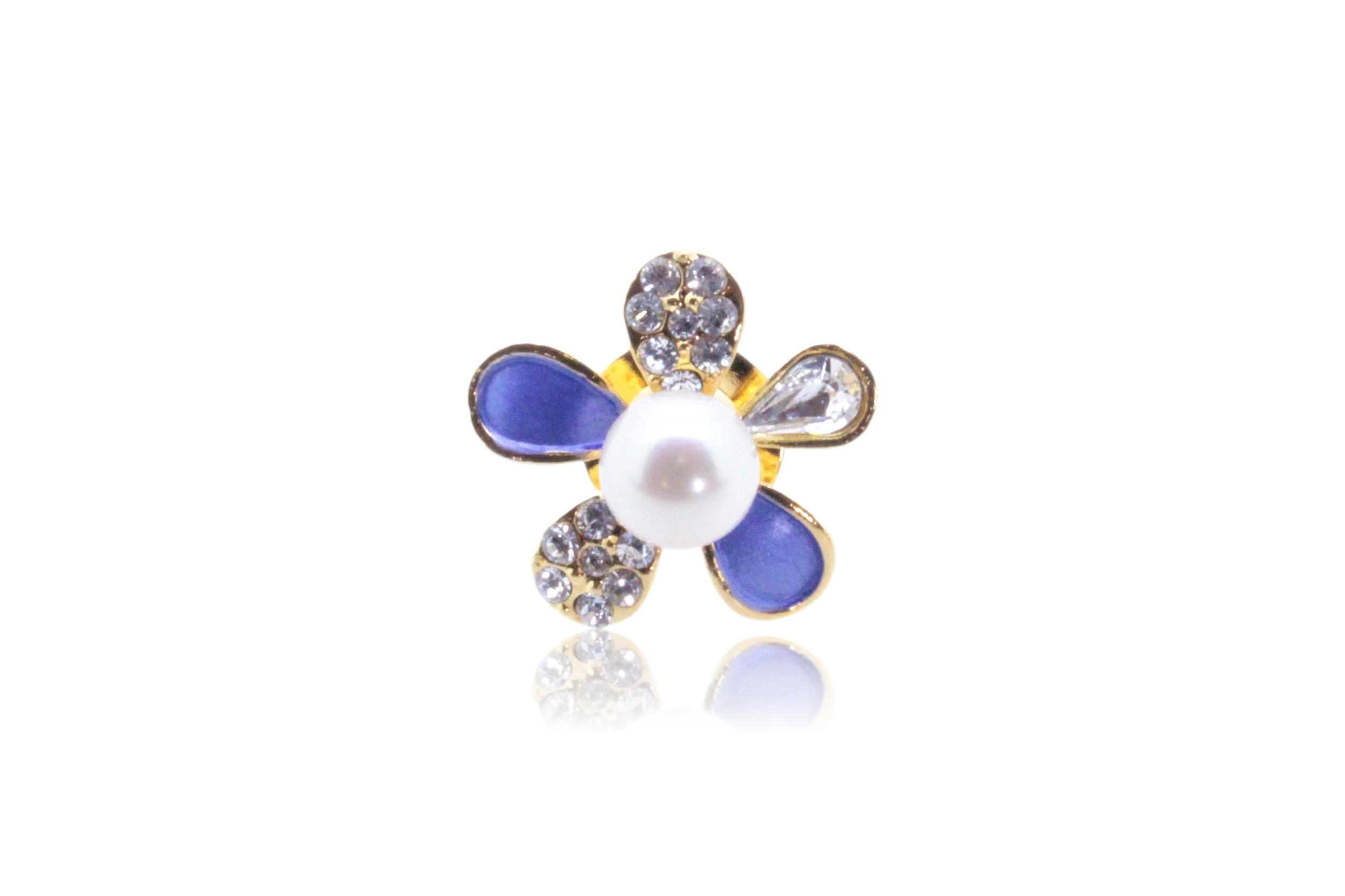 アコヤ真珠 ピンブローチ〈カラーフラワー〉ブルー