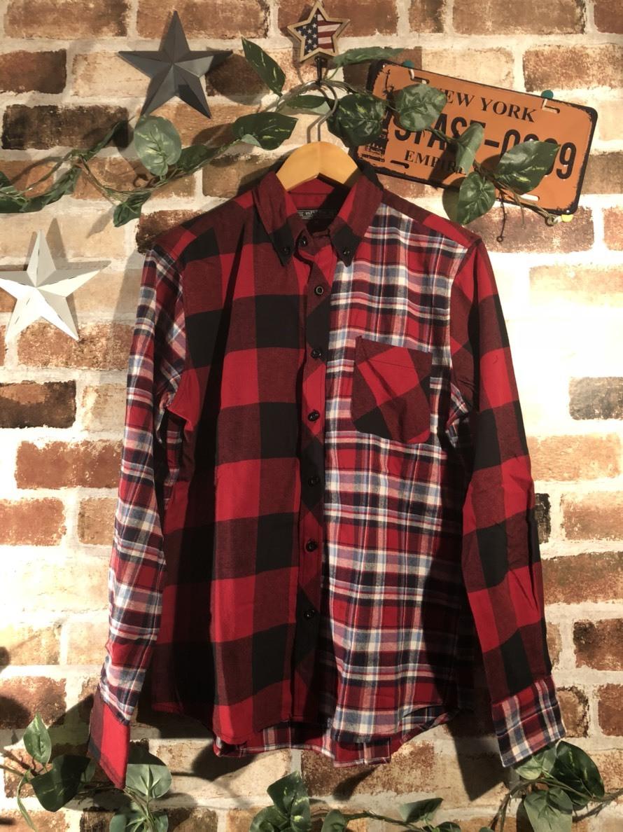 クレイジー切り替えネルチェックシャツ メンズ 男物 紳士服 個性的 トップス 秋冬
