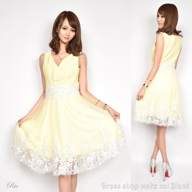 SALE (Sサイズ) ミニドレス  ビジュー刺繍 ドレス パーティー フレアミニキャバドレス 二次会 0182
