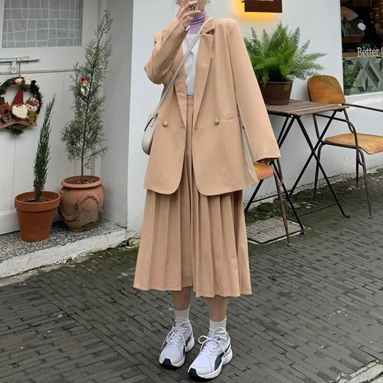 【送料無料】 大人可愛い ワントーンコーデ♡ 春色 ジャケット × プリーツ ロング スカート セットアップ