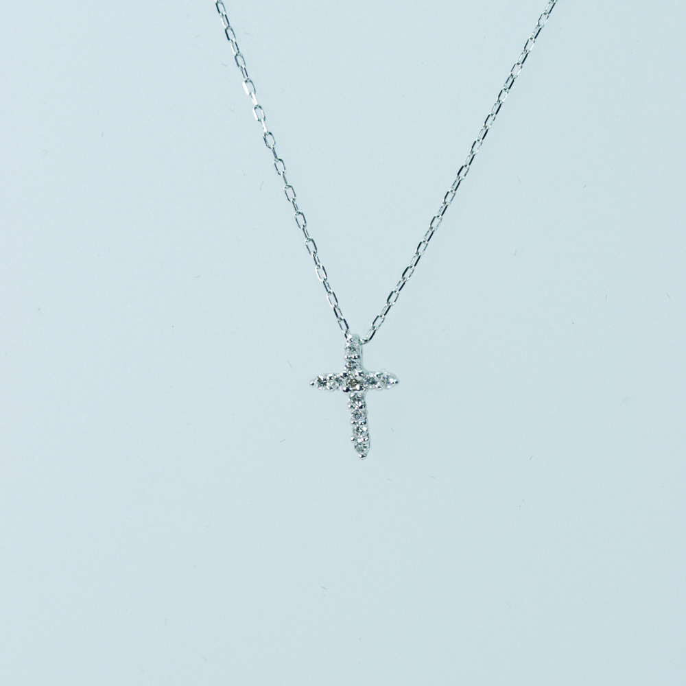 小さな ダイヤモンドクロスペンダント K18ホワイトゴールド