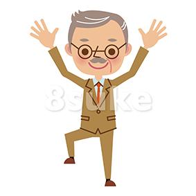 イラスト素材:バンザイをする社長・熟年のビジネスマン(ベクター・JPG)