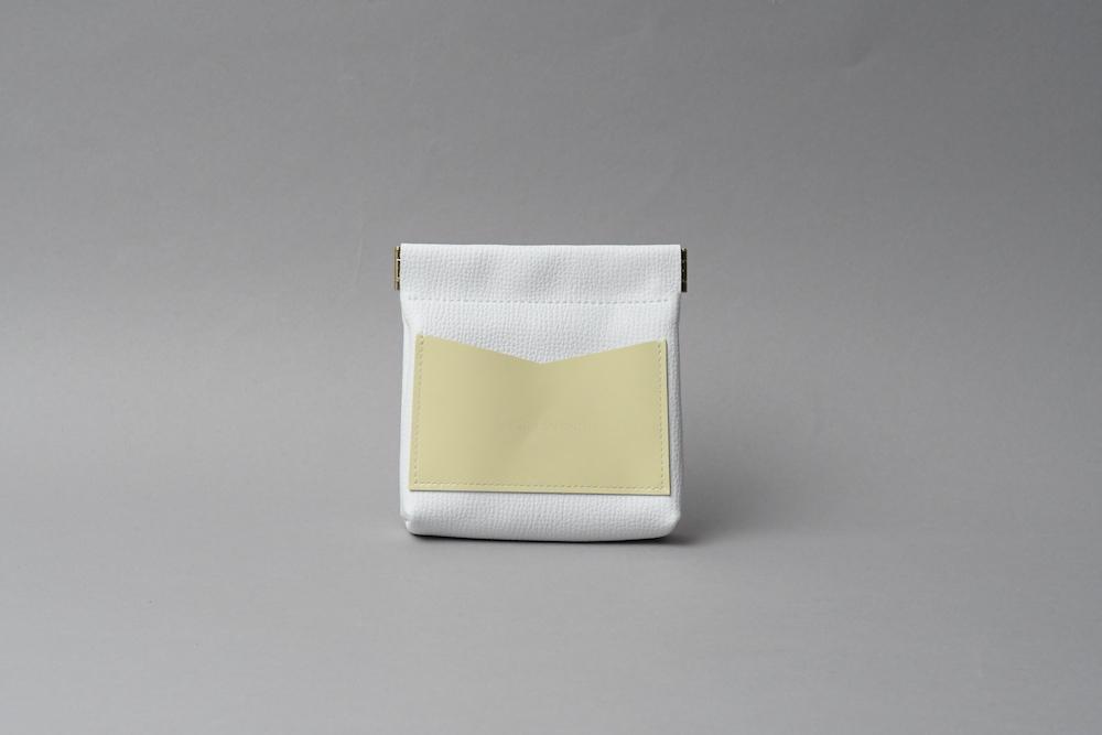 送料無料・ギフトラッピング(ギフト箱)無料○ ワンタッチ・コインケース ■ホワイト・レモン■ - 画像1