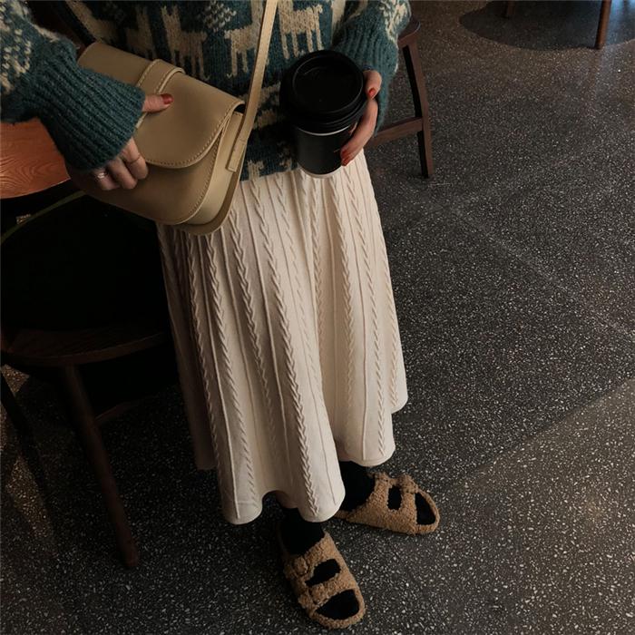 【送料無料】愛されガール ♡ きれいめ カジュアル ニット フレア ロング スカート