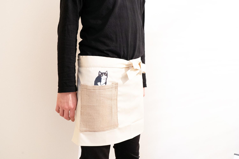 【覗く猫さんシリーズ】ポケットから黒猫さんが覗く可愛すぎるショートエプロン ※自分用&母の日ギフト※
