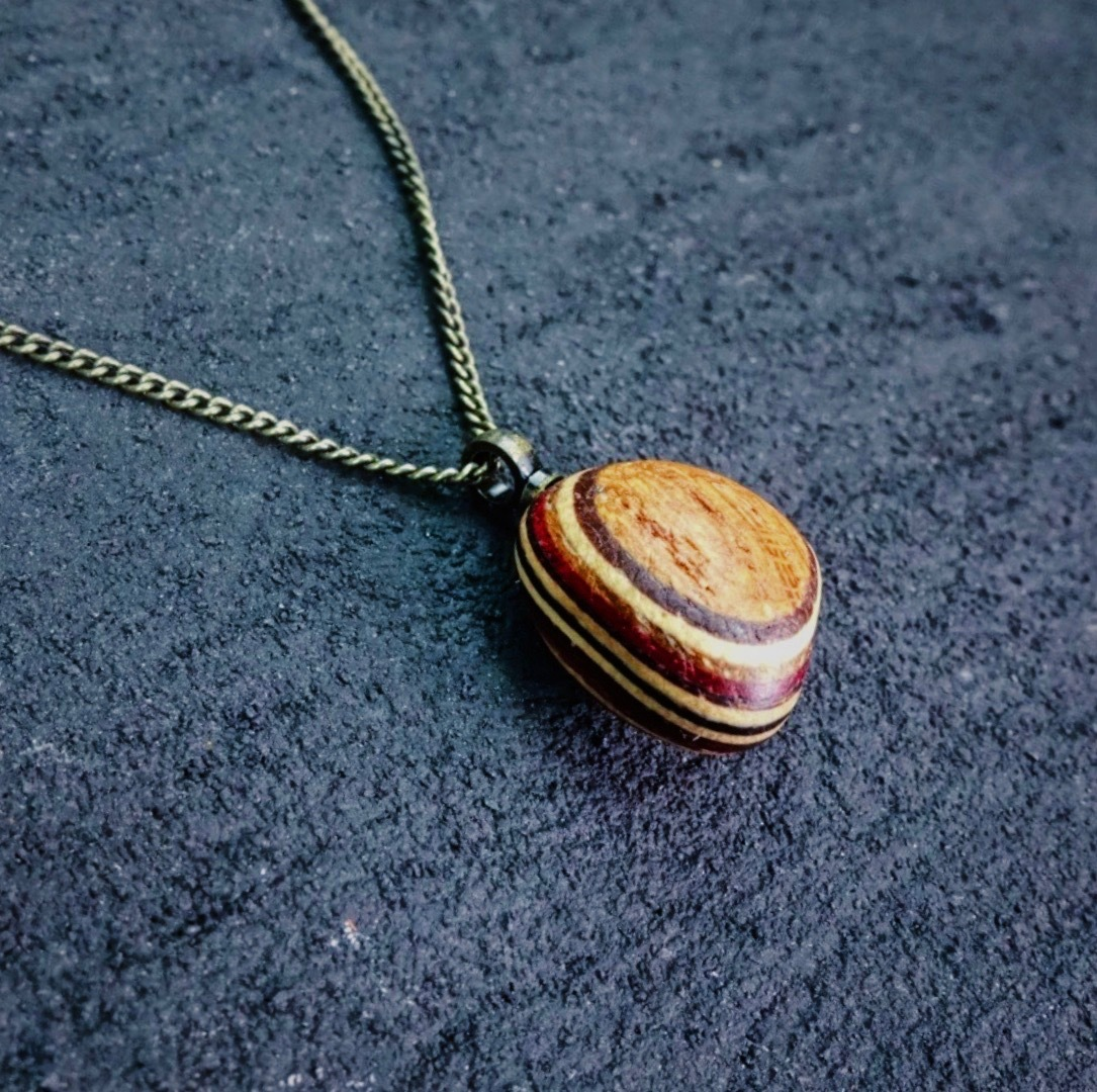 Striped woodball pendant NWB-003