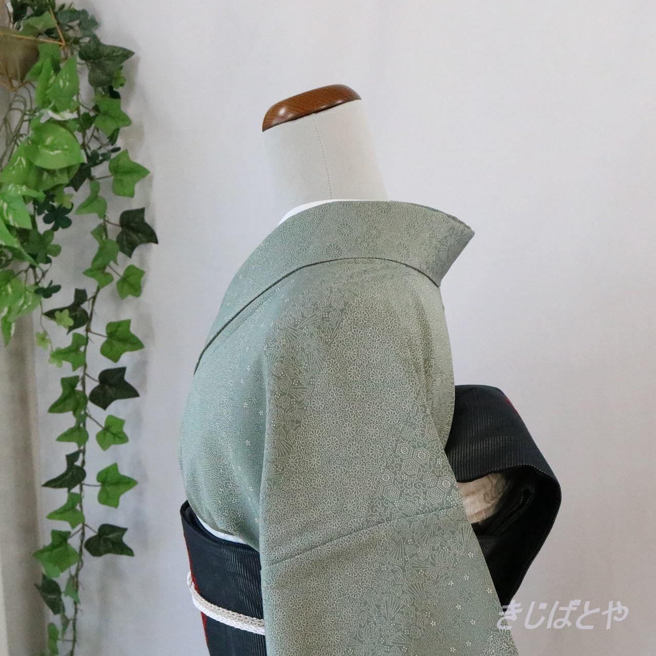 正絹ちりめん 錆青磁の江戸小紋 単衣
