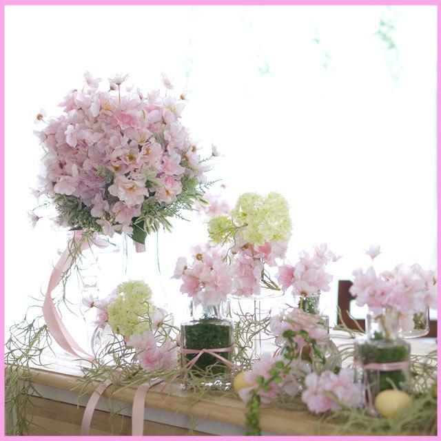 「さくらピンク春ウェディング」メインテーブルフラワー