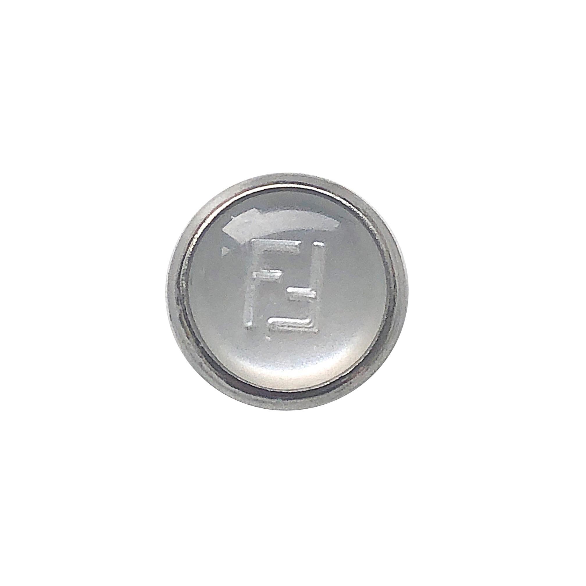【VINTAGE FENDI BUTTON】シルバーホワイト ボタン