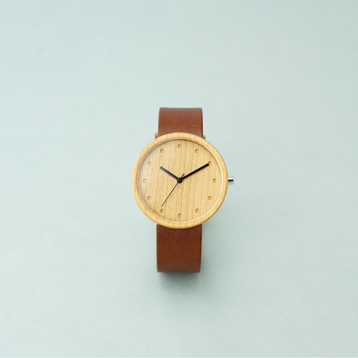 Cherry wood - Organic leather Dark Brown - L