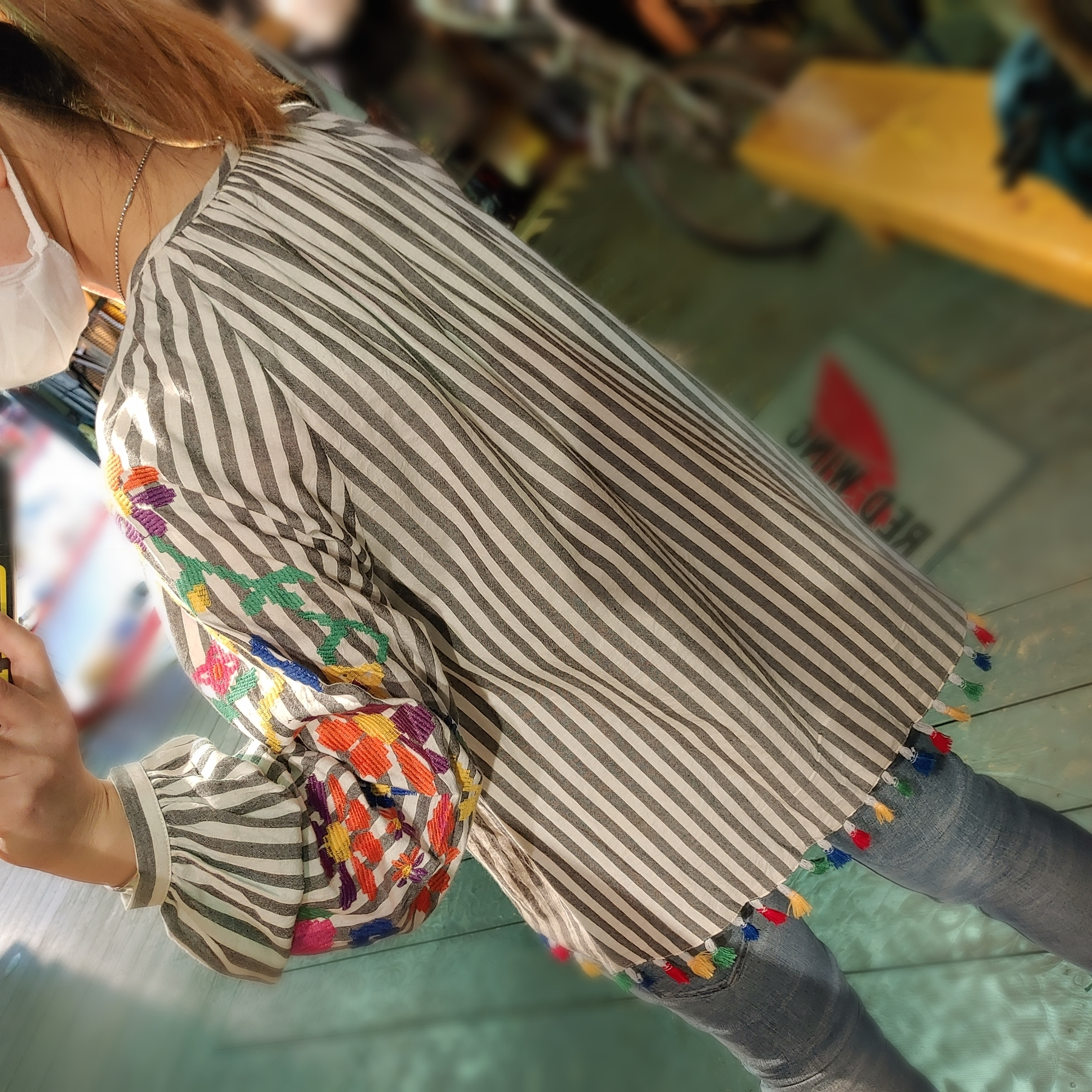 【W's USED】KyeMi Embroidery Print Top With Long Sleeves