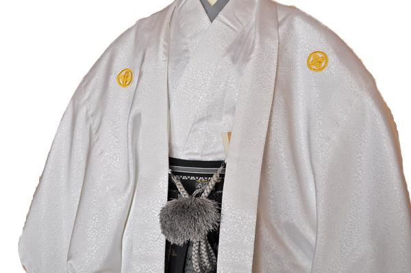 レンタル男性用shishi01【紋付袴】白地着物に牡丹刺繍の羽織と獅子の袴フルセット[往復送料無料] - 画像5