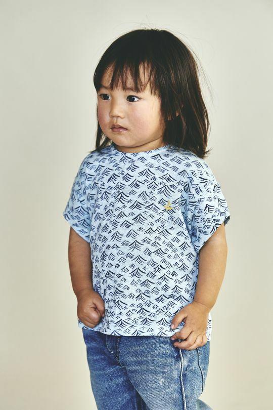 《mina perhonen 2019SS》umi Tシャツ / light blue / 80-100cm