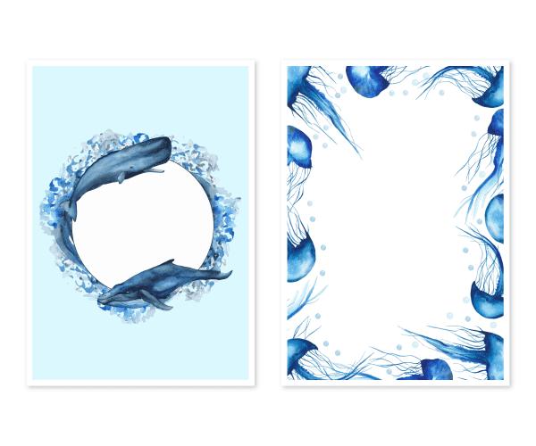 全2種類|海がテーマのクジラとクラゲの水彩ポストカードテンプレート